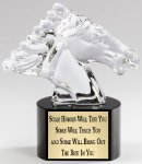 Crystal Horse on Black Crystal Base Clear Optical Crystal Awards