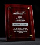 Floating Glass Plaque - Rosewood Piano Finish Glass Award Plaques