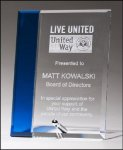 Deluxe Blue Accent Glass Plaque Glass Award Plaques