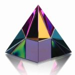 Spectrum Pyramid Crystal Paperweight Paperweights
